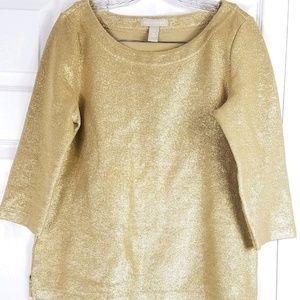BANANA REPUBLIC gold sparkly metallic sweater